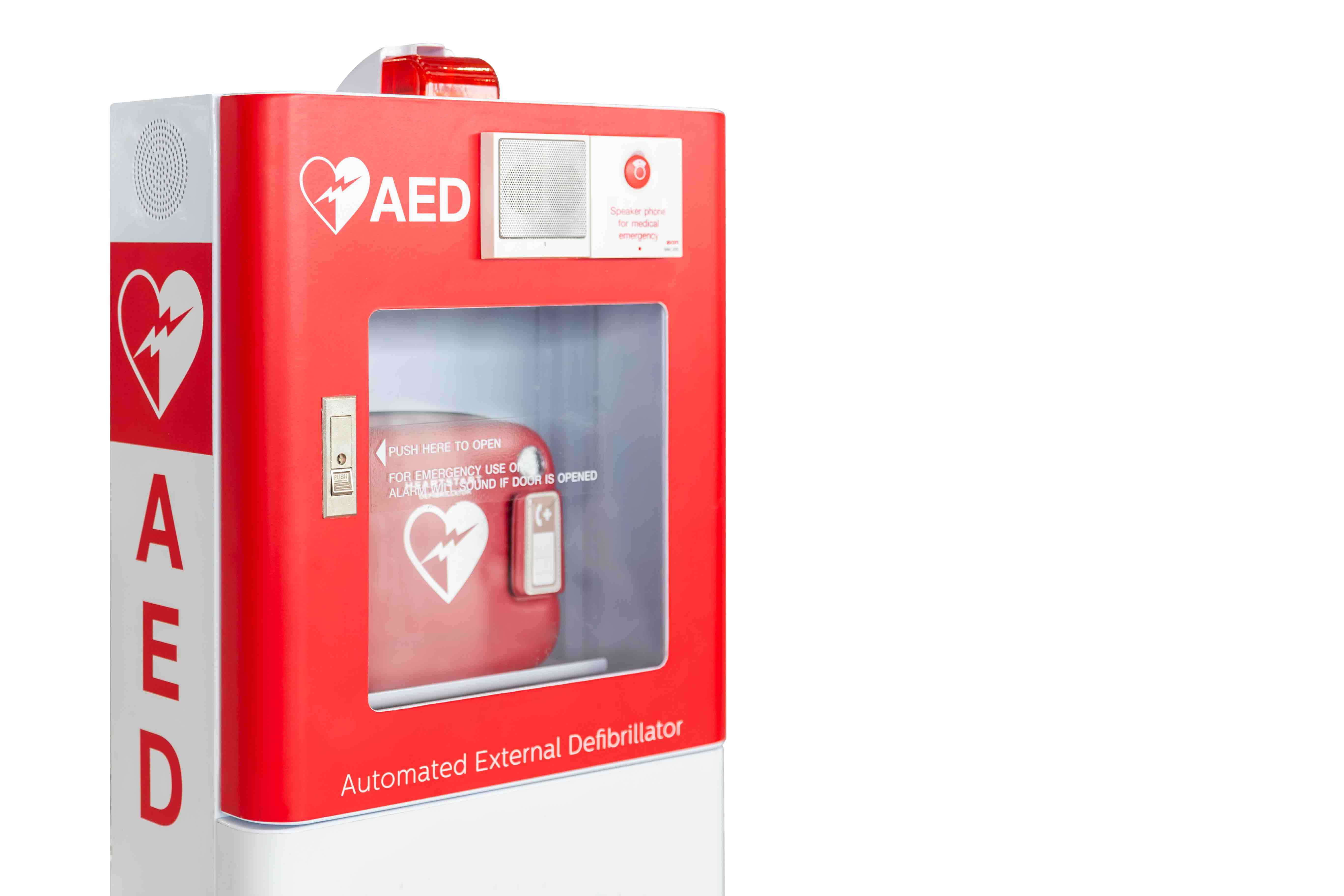 aed first aid kid red and white metal box